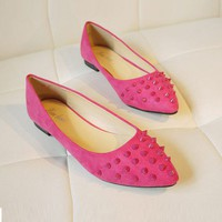 Rhodo Suede PU Leather Studded Flat Shoes