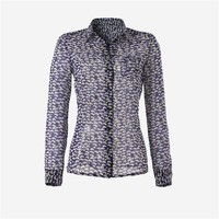 Long-Sleeved Printed Silk Blouse