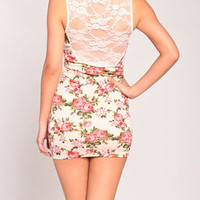 Flower Print Lace Tank Dress in Cream