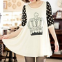 FREE SHIPPNG White Dot Sleeve Chiffon Printed Women Blouse HXA2028w