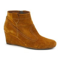 Suede Wedge Boots with Zip Fastening
