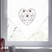Curtain Panel with Heart Motif, 2 Sizes