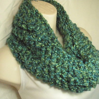 Teal Blue and Green Multicolor Cowl Infinity Circle Scarf Neckwarmer