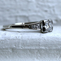 Classic Vintage 14K White Gold Diamond Engagement Ring - 0.50ct.