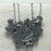 Puzzle Piece Interlocking Polymer Clay Necklaces 3 Piece Set  Slider Style