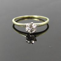 Sweet Art Nouveau Two Tone Engraved Mine Cut Diamond Solitaire Engagement Ring - RGDI357P