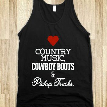 Heart Country music, cowboy boots, pickup trucks