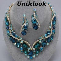 Elegant Teal Gold & Clear Crystal Costume Jewelry Prom Bridal Necklace Earrings