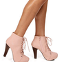 Blush Faux Leather Lace Up Hidden Platforms