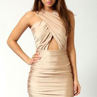 Starry Crossover Front Cut Out Waist Bodycon Dress  Gold