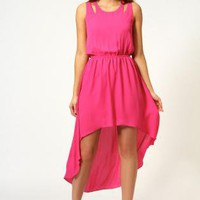 Starry Cut Out Shoulder Mixi Dress Fuchsia