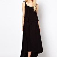 Starry Dress With Double Layer Detail Black