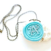 Personalized Wax Seal Necklace - Filigree Initial - 10 Colors Available