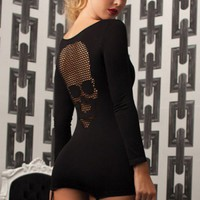 Black Seamless Long Sleeve Scoop Neck Skull Net Dress