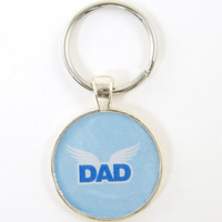 Dad Keychain - Blue White Silver Resin Key Ring for Father Him