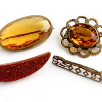 Antique Brooch Pin Lot - 4 Brass / Gold Tone Rhinestone, Enamel, & Amber Glass Stone Costume Jewelry / Early 1900s Collection