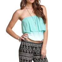 Black Poppy Challis Ruffle Tube Top Shirt at PacSun.com