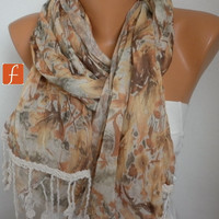 Autumn Floral Scarf - Shawl Scarf - Women  Scarf - Cowl Scarf  - Multicolor -fatwoman