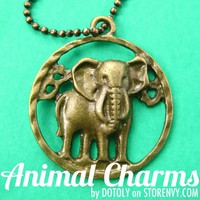 Realistic Elephant Animal Coin Charm Necklace in Bronze