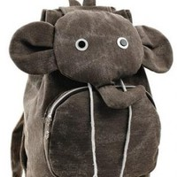 Brown Elephant Canvas Backpack
