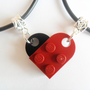 Black and Dark Red Heart His and Her Necklace Set, Made Using Lego Bricks.