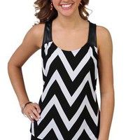 chevron trapeze tank top with leather straps - 1000048113 - debshops.com
