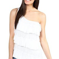 one shoulder mesh and shelf tiered tank top - 1000049351 - debshops.com