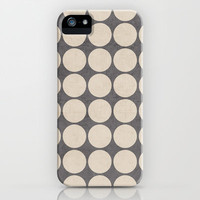 ecru and gray dots iPhone & iPod Case by her art