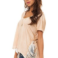 RVCA The Wave Hunter Fringe Drape Top in Tan : Karmaloop.com - Global Concrete Culture