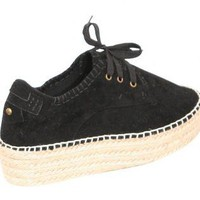 Pilot Lucy Lace Up Espadrille Shoe Flatforms in Black