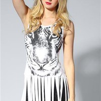 fringe tunic top with tiger screen print - 1000049867 - debshops.com