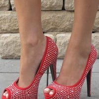 Red peeptoe heels with crystal gems from Chockers Shoes