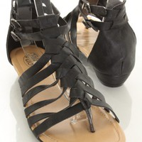 Black Faux Leather Caged Sandals