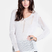 Polar Opposites Slashed Sweater - $38.00 : ThreadSence, Women&#x27;s Indie &amp; Bohemian Clothing, Dresses, &amp; Accessories