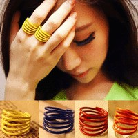 Set of 4 Neon Fashion Colors Finger Cuff Rings | LilyFair Jewelry
