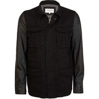Black leather look sleeve field jacket