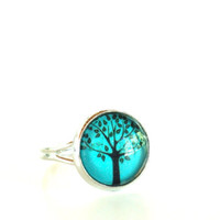 Tree of Life Ring Yoga Jewelry Adjustable Aqua Blue Green Earthy Antique Silver Spiritual Wisdom Unique Birthday Gift Under 20 Item E64