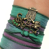 Bohemian Owl Silk Wrap Bracelet Yoga Jewelry Three Peas in a Pod Sacred Elephant Om Earthy Unique Gift For Her Under 50 Item V28