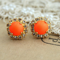 Neon Stud earring Neon Orange white Rhinestones  Summer - 14k plated gold post earrings real swarovski rhinestones.