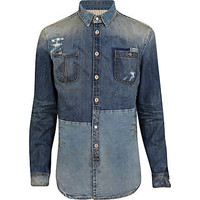 Mid wash Holloway Road patch denim shirt
