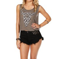 Olive Cropped Embellished Bull Head Tank