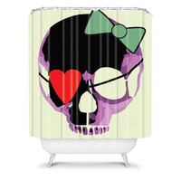 DENY Designs Home Accessories | Amy Smith Pink Skull Heart With Bow Shower Curtain