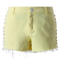 Yellow Denim Studded Shorts with Shredding Detail