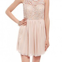 Sweetheart Lace Gathered Dress in Taupe