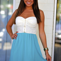Speak Kind Words Dress: Ivory/Teal | Hope&#x27;s