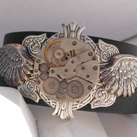 Black Leather Unisex Motorcycle Winged Steampunk by steamheat