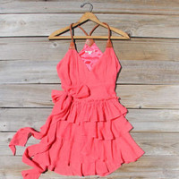 Scattered Ruffles Dress in Watermelon, Sweet Women's Bohemian Clothing