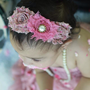 Vintage Pink Flower headband - all ages - children newborn photography props - vintage couture boutique headbands