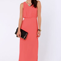 Pulling Your Leg Coral Maxi Dress