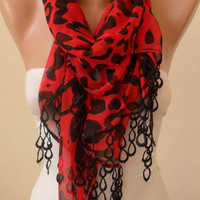 New - Mother's Day Gift Scarf - Orange Red and Black - Silk/Chiffon Scarf with Black Trim Edge